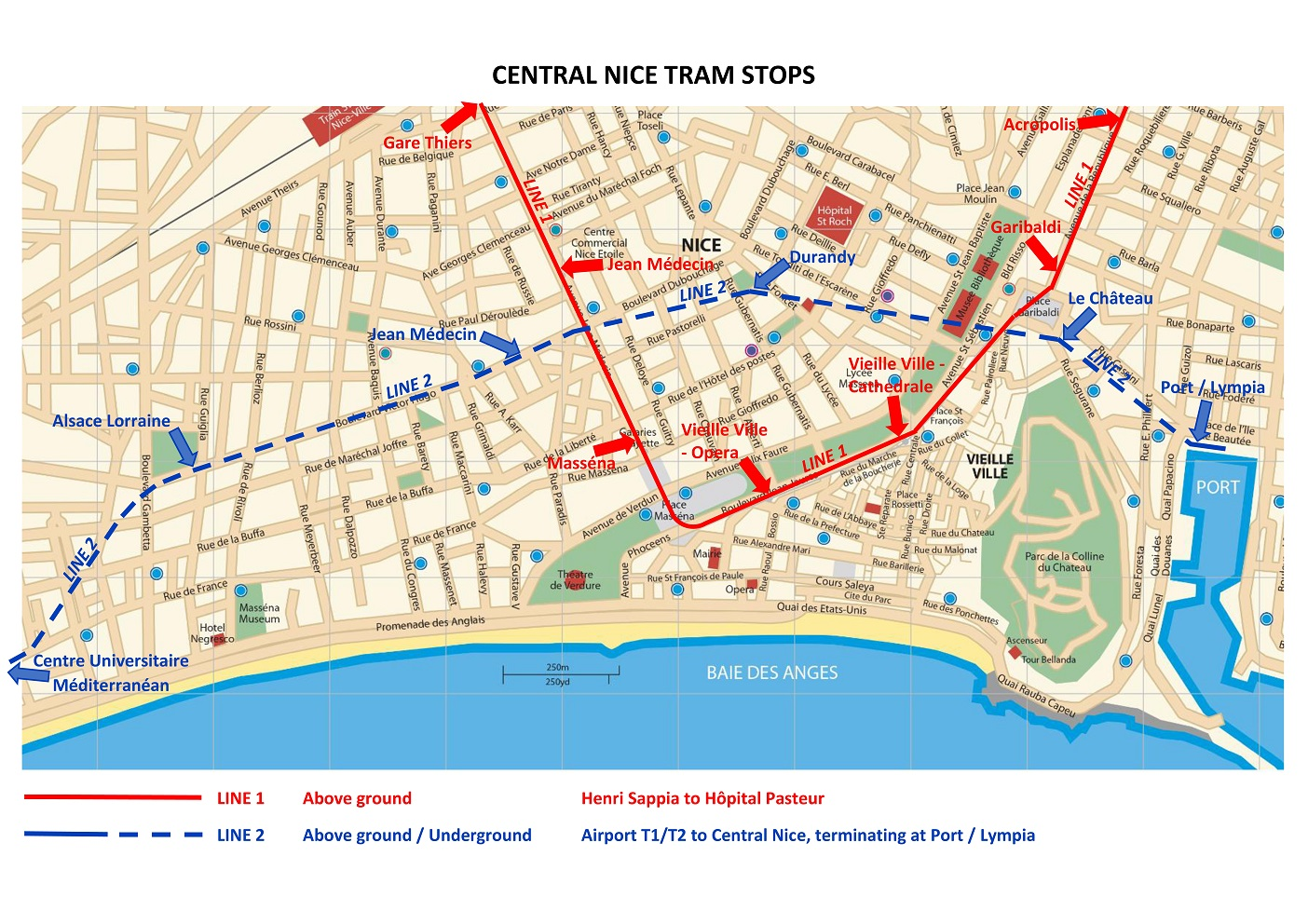 Map of tram stops in Nice